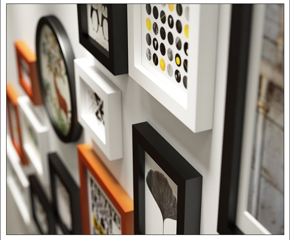MEHE@ 13 Multi Picture Frame Set Wooden DIY Photo Picture Wall Frame Modern Large Wall Hanging Photo Frame Wall Decorative Painting Color : #B