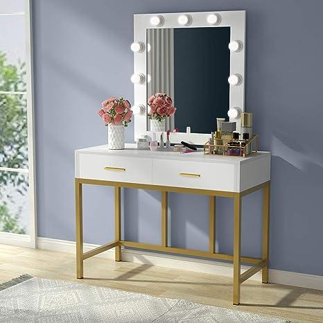 Tribesigns Vanity Table with Lighted Mirror, Makeup Vanity Dressing Table  with 9 Lights and 2 Drawers for Women, Dresser Desk Vanity Set for Bedroom,