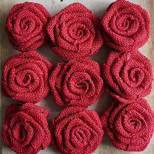 Burlap Flowers Packs Wedding Decorations, RiscaWin Burlap Rose Scrapbooking or Crafts Rosette Embellishments- 9 roses per pack(Burgundy)