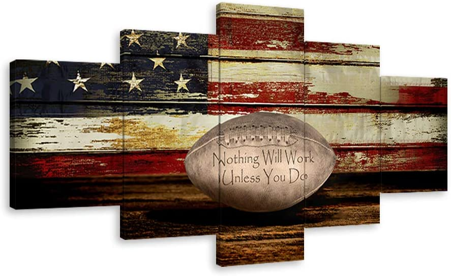"Vintage Football Canvas Wall Art US USA American Flag Prints Rustic Sports Artwork Wall Decor Home Picture for Bedroom Living Room Thin Red Line Paintings Posters Framed Ready to Hang (60""Wx32""H, G)"