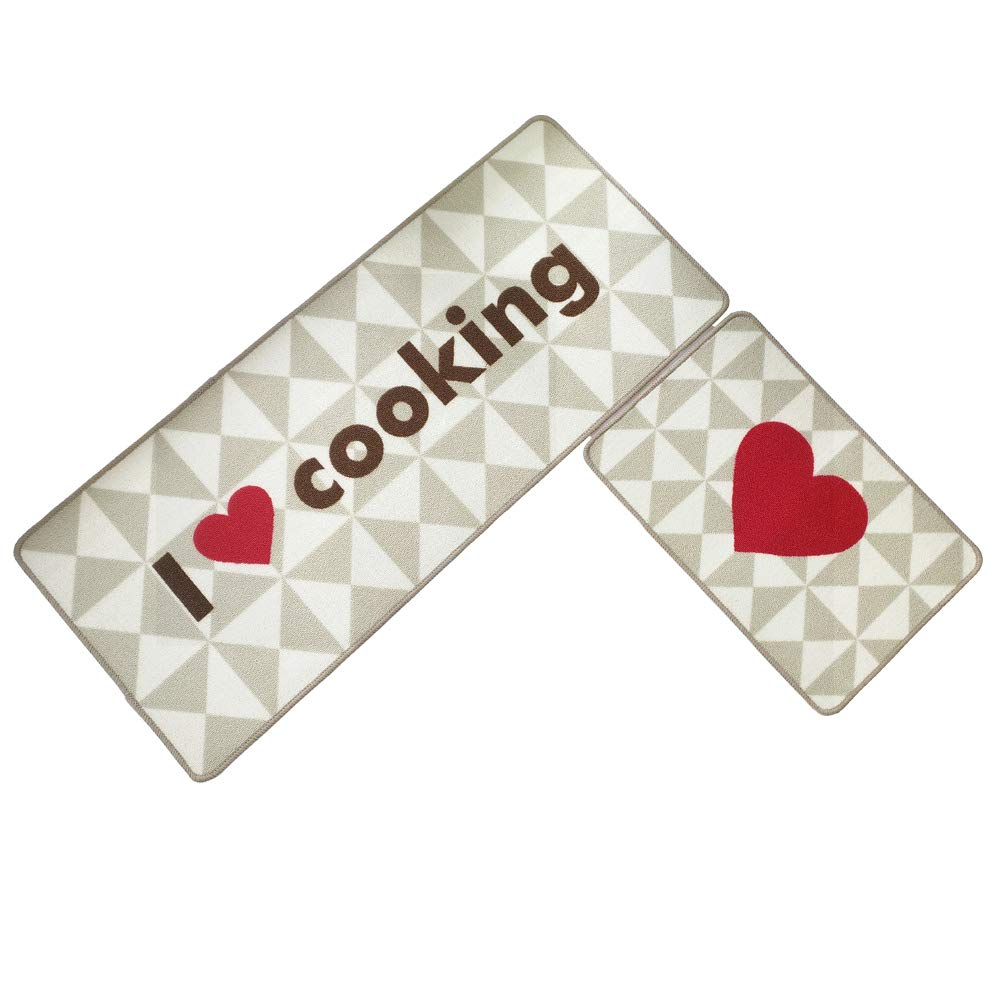 O'Family 2 Piece Non-Slip Kitchen Mat Rubber Backing Doormat Entry Runner Rug Set,15.7'' x 23.6'' +19.7'' x 47.2'', Cooking