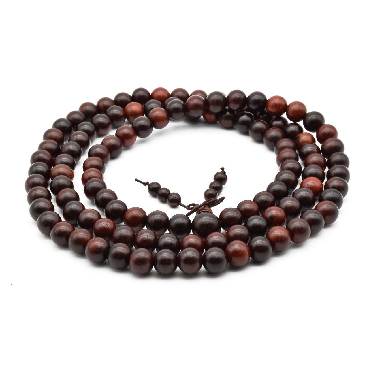 Zen Dear Unisex Natural Rosewood Prayer Beads Buddha Buddhist Prayer Meditation Mala Necklace Bracelet ZD-RSW-00-00