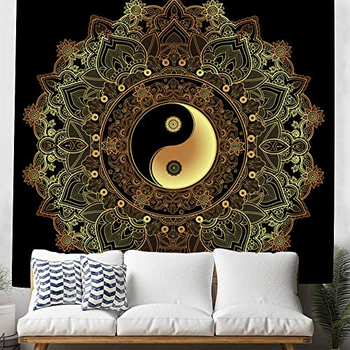 DBLLF Yinyang Wall Hanging Tapestry, Black and Gold Tapestry, Mandala Tapestries, Indian Traditional Cotton Printed Bohemian Hippie Large Wall Art (84×90Inches) DBLX060