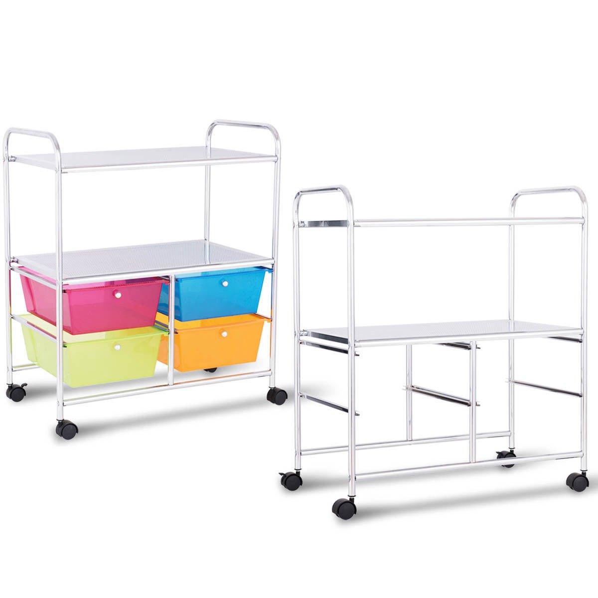 Giantex Rolling Storage Cart w/ 4 Drawers 2 Shelves Metal Rack Shelf Home Office School Beauty Salon Utility Organizer Cart with Wheels (Blue Green Orange & Red) by Giantex (Image #8)