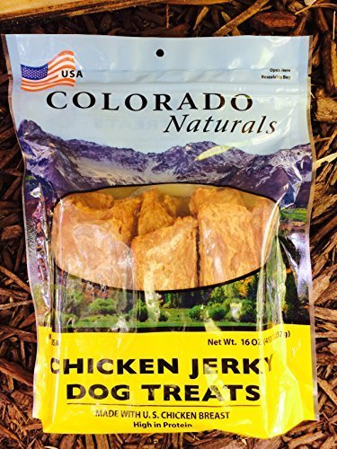 Chicken Jerky Dog Treats. Made in USA with 100% USDA chicken 1Lb by Colorado Naturals