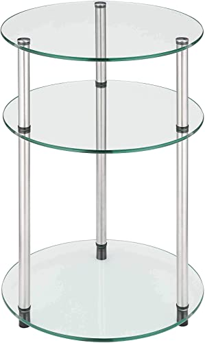 Convenience Concepts Designs2Go Classic Glass 3 Tier Round Table