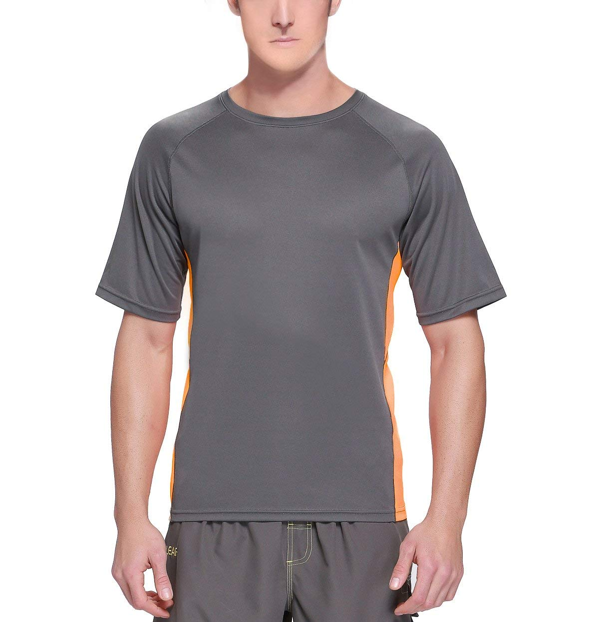 Baleaf Men's Short Sleeve Sun Protection Rashguard Swim Shirt UPF 50+ Dark Grey M by Baleaf (Image #3)