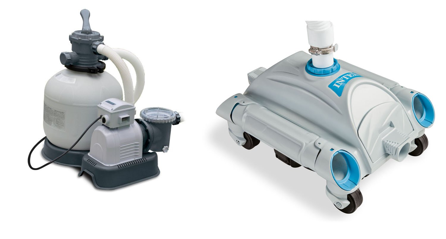 INTEX 3000 GPH Above Ground Pool Sand Pump and INTEX Automatic Above Ground Pool Vacuum