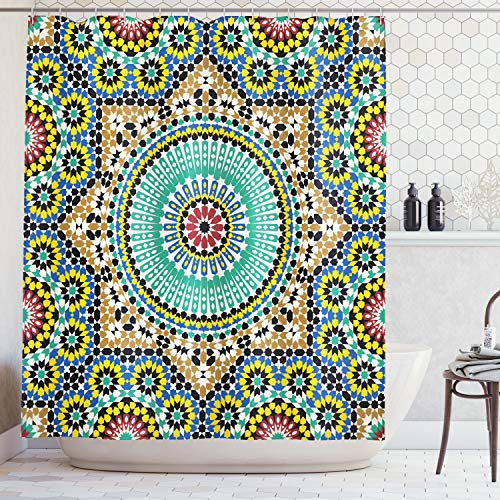 - Ambesonne Moroccan Decor Collection, Architectural Glazed Decorative Wall Tile Ceramic Historical Travel Destinations Image, Polyester Fabric Bathroom Shower Curtain, 75 Inches Long, Khaki Blue