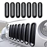 Mesh Grill Insert Matte Black Mesh Grill for 2007-2015 Jeep Wrangler JK JKU Unlimited Rubicon Sahara X Off Road Sport Exterior Accessories Parts