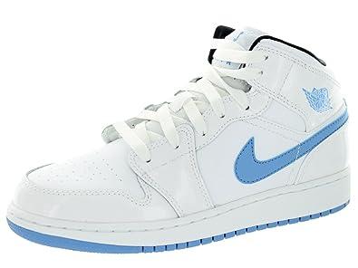 big sale 66e6e 8ee97 Air Jordan Big Kid Boys 1 Mid BG Sneakers 554725 Sz 6Y White/Legend  Blue-Black