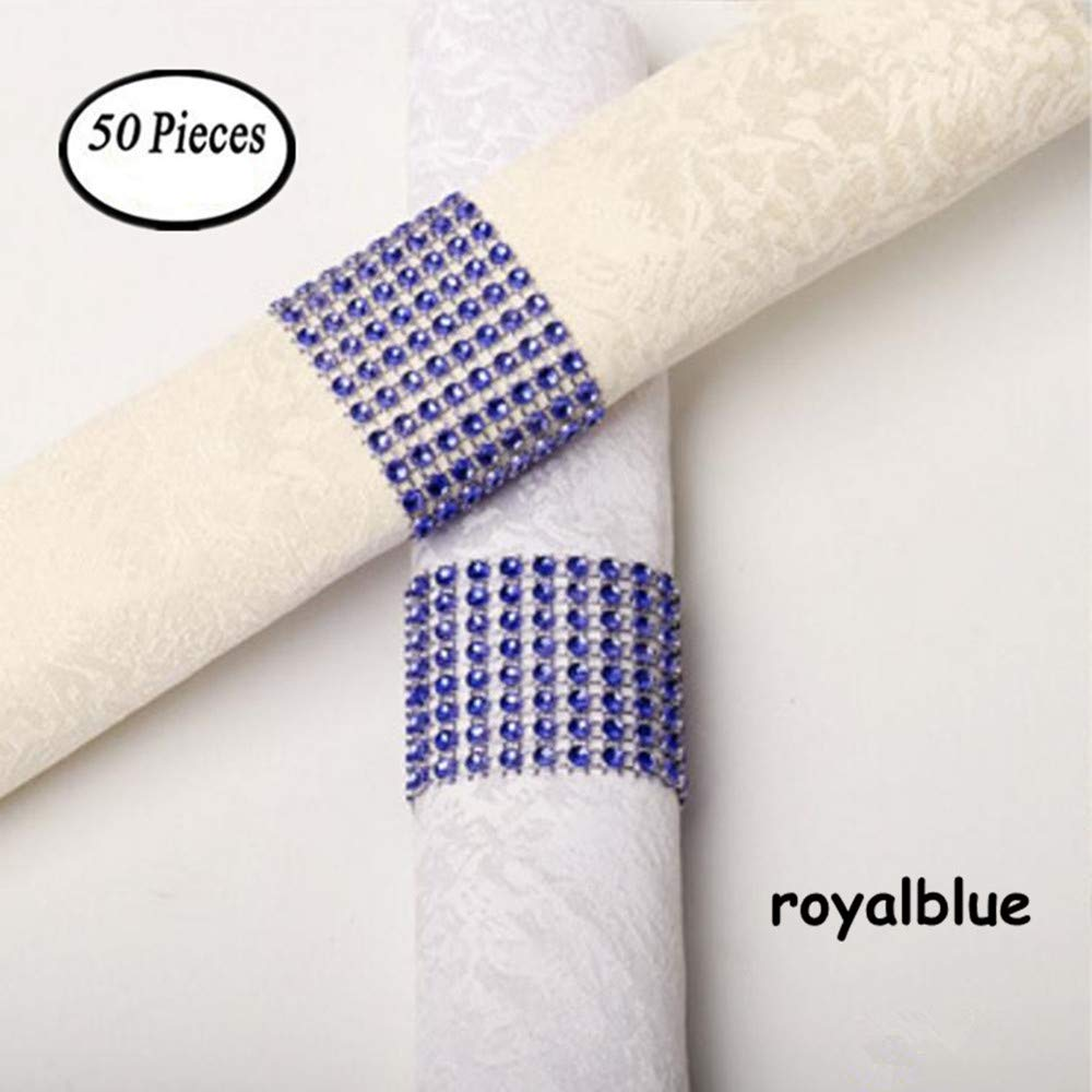 King&Pig 50pcs Plastic Napkin Rings Hotel Wedding Chair Sash Napkin Rings for Party Decorations (Sapphire Blue)