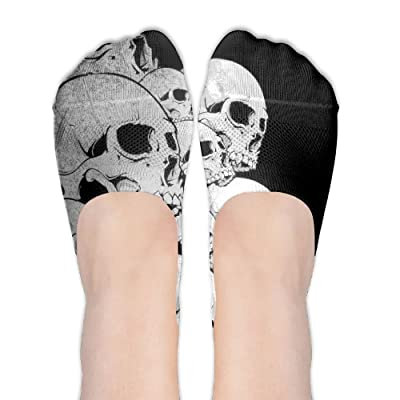 NC WUYQX Cool Skull Women No Show Socks Non Slip Flat Boat Line Low Cut Socks Printed Boat Socks