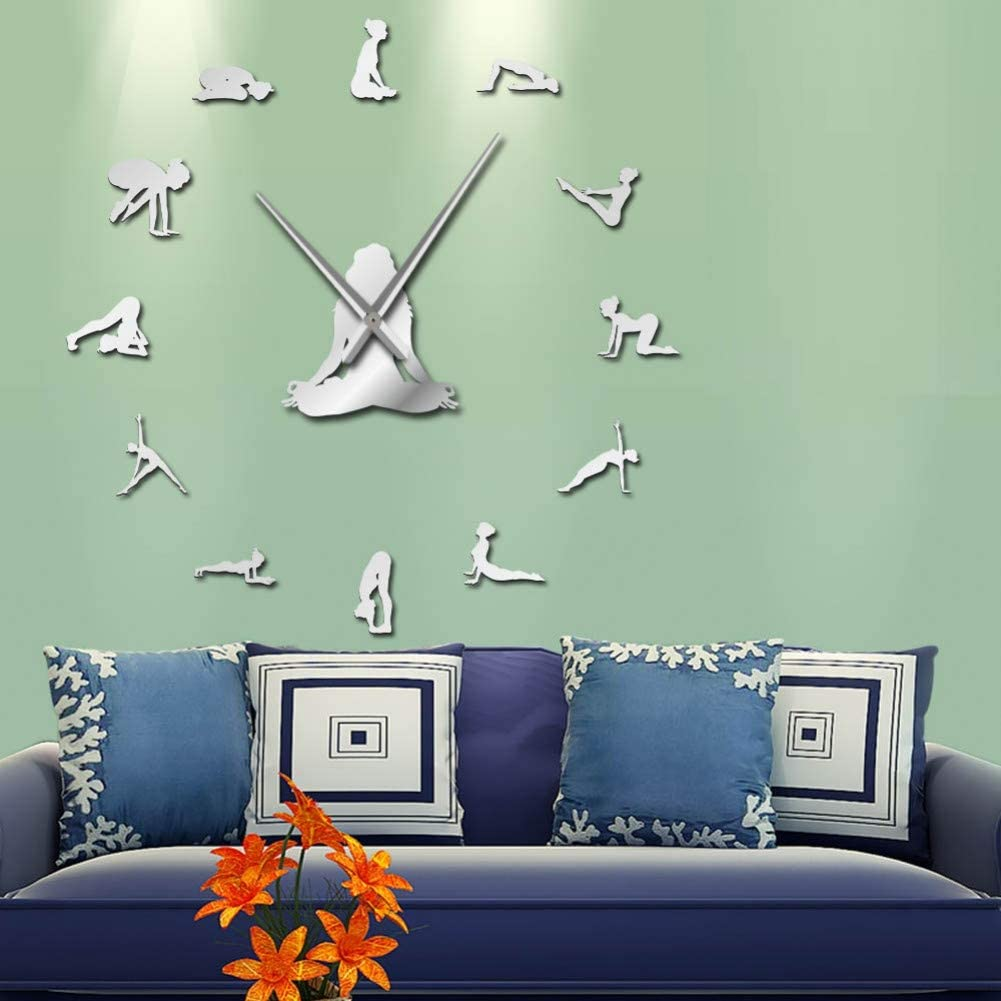 Wall Clock DIY Wall Decoration Gift Yoga Girl Design DIY 3D Acrylic Wall Clock Special Clock Home Decor S Adhesive Quartz Mirror Sticker Gift for Her-47inch,Silver