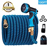 monyar Garden Hose Expandable Water Hose 100 Feet,Extra Strenght/No-Kink Lightweight/Durable/Flexible/9 Function Spray Hose Nozzle 3/4 Solid Brass Connectors Garden Hose for Watering/Washing