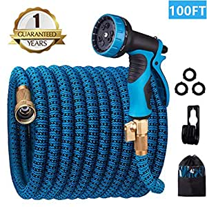 monyar Garden Hose Expandable Water Hose 100 Feet,Extra Strength/No-Kink  Lightweight/Durable/Flexible/10 Function Spray Hose Nozzle 3/4 Solid Brass
