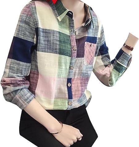 Blusas para Mujer Camisa Cuadros Blusa Casual Elegante ...