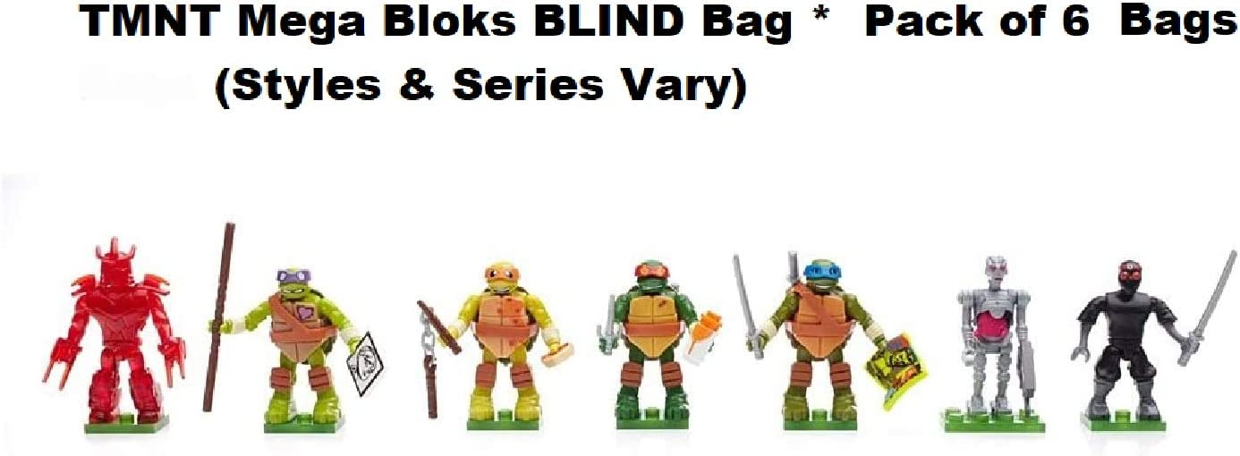 Mega Bloks Teenage Mutant Ninja Turtles Blind Bags Party Favors Set - Pack of 6 TMNTMystery Blind Packs (TMNT Party Supplies)