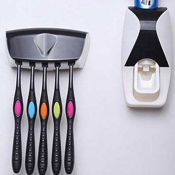 Cuitan Dispensador de pasta de dientes automático (resina, ABS, 5 cepillos), color negro: Amazon.es: Informática