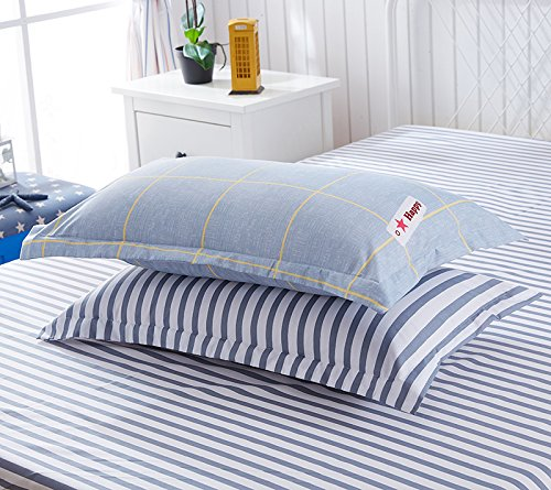 ManFan 4pcs in 1 Queen Aloe Cotton Bedding Set Solid Color AB Bed Protector Home Quilt Cover Blanket School Dorm Cartoon Print - plaid stripe
