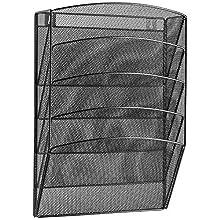 "Halter Steel Mesh Wall Hanging Magazine Rack/Literature Rack - 5 Pocket - Black - 17.25"" X 12.5"" X 4.25"""