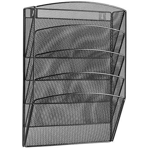 Halter Steel Mesh Wall Hanging Magazine Rack Literature Rack - 5 Pocket - Black - 17.25