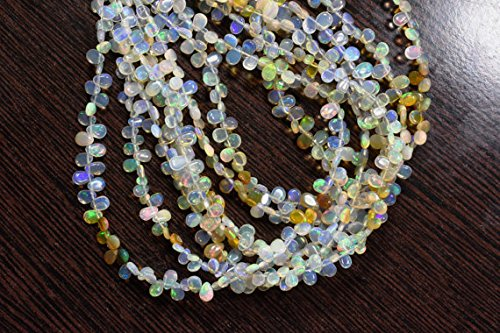 JP_Beads 10 inch 4x5-4x6-4x7mm Natural Untreated Ethiopian Fire Opal Smooth Pear Briolette Beads Strand