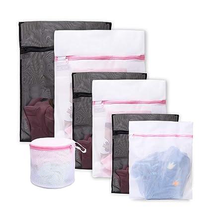 Lavandería Bolsa de lavado 7 Pack Durable Mesh Lavado Blanqueo Blusa, Medias, Medias, ropa interior, sujetador y lencería Viajes Bolsa de lavandería ...