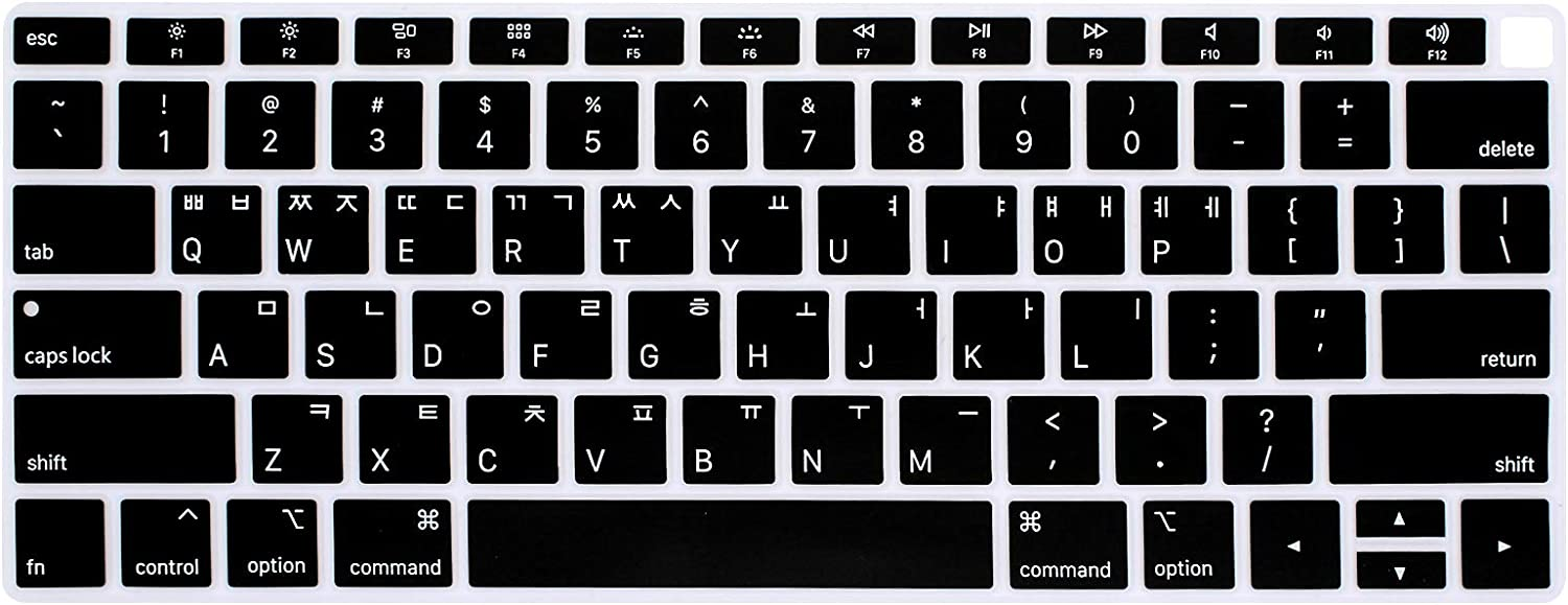 HRH Korean Language Silicone Keyboard Cover Skin for MacBook Newest Air 13 Inch 2018 Release A1932 with Retina Display and Touch ID USA Layout-Black