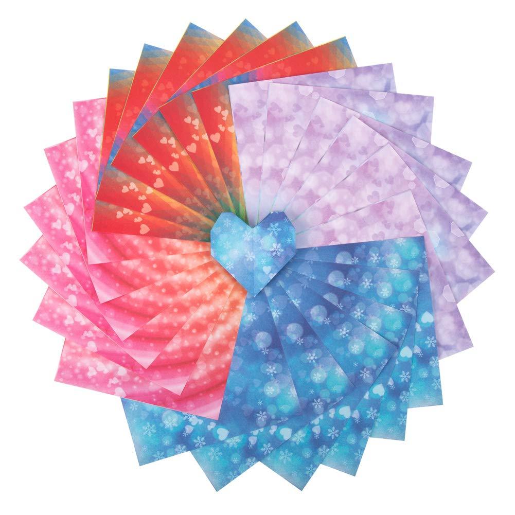 Set carta da origami, 120 fogli Illusion Star Monopattino 4 colori arcobaleno Pieghevoli quadrati per gru, stelle, aeroplani, aerei, animali Bambini Arti e mestieri fai da te, carta da origami per bambini ed adulti-6 pollici Foglio quadrato (120-Illusion S