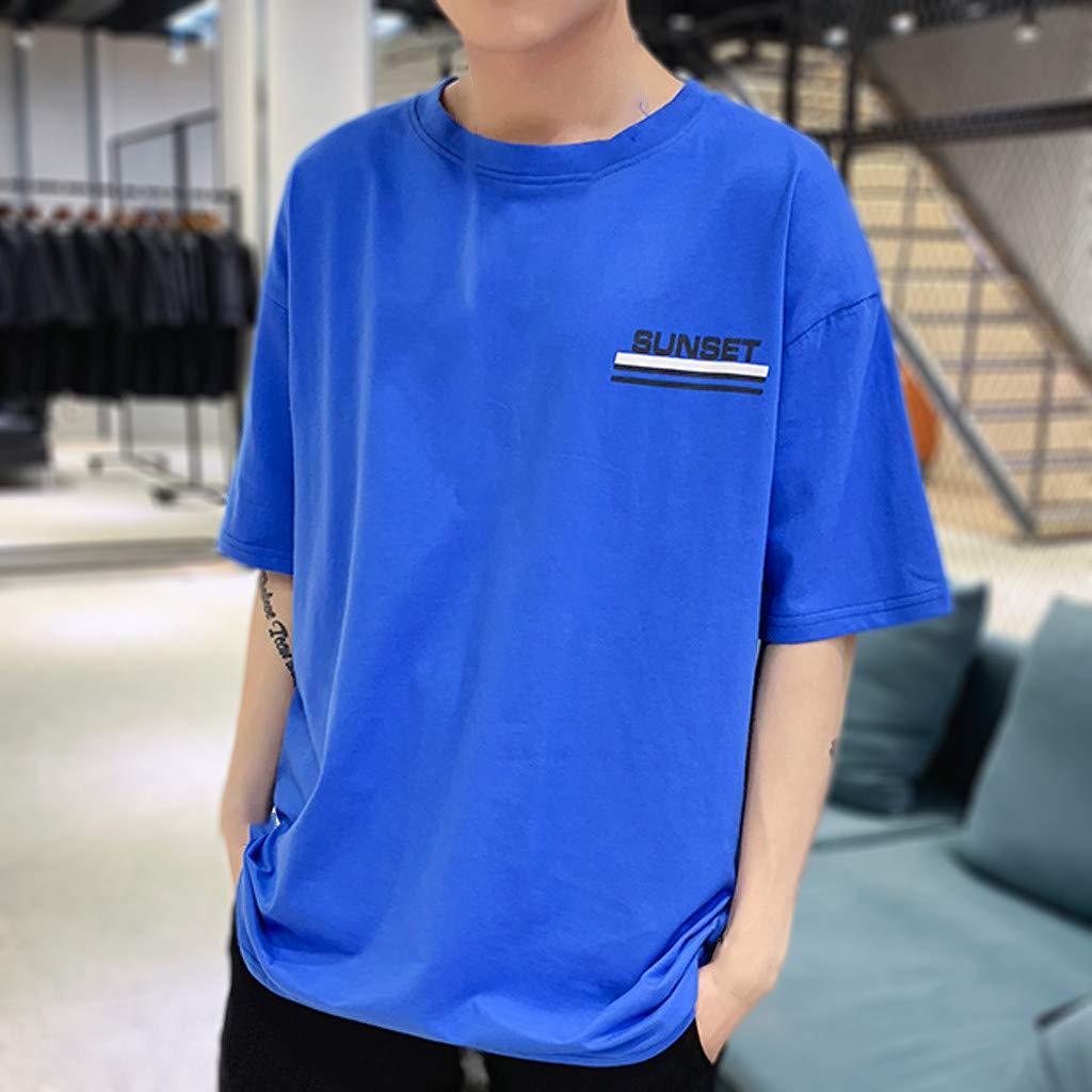 Pandaie Mens Blouse Shirts Mens New Summer Casual Grapheme Printing Loose Sports Short Sleeve T-Shirt Tops