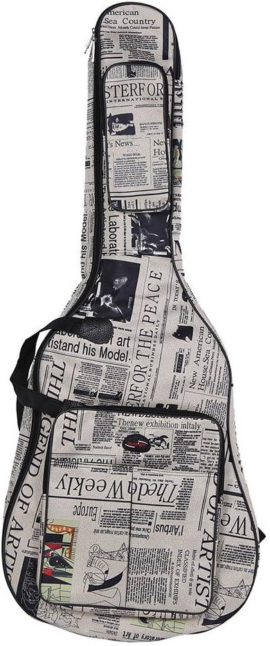Ammoon 600D - Funda para guitara, impermeable, tela Oxford estilo periódico, doble cosido, acolchada, con correa, para guitarras acústicas de 101 cm