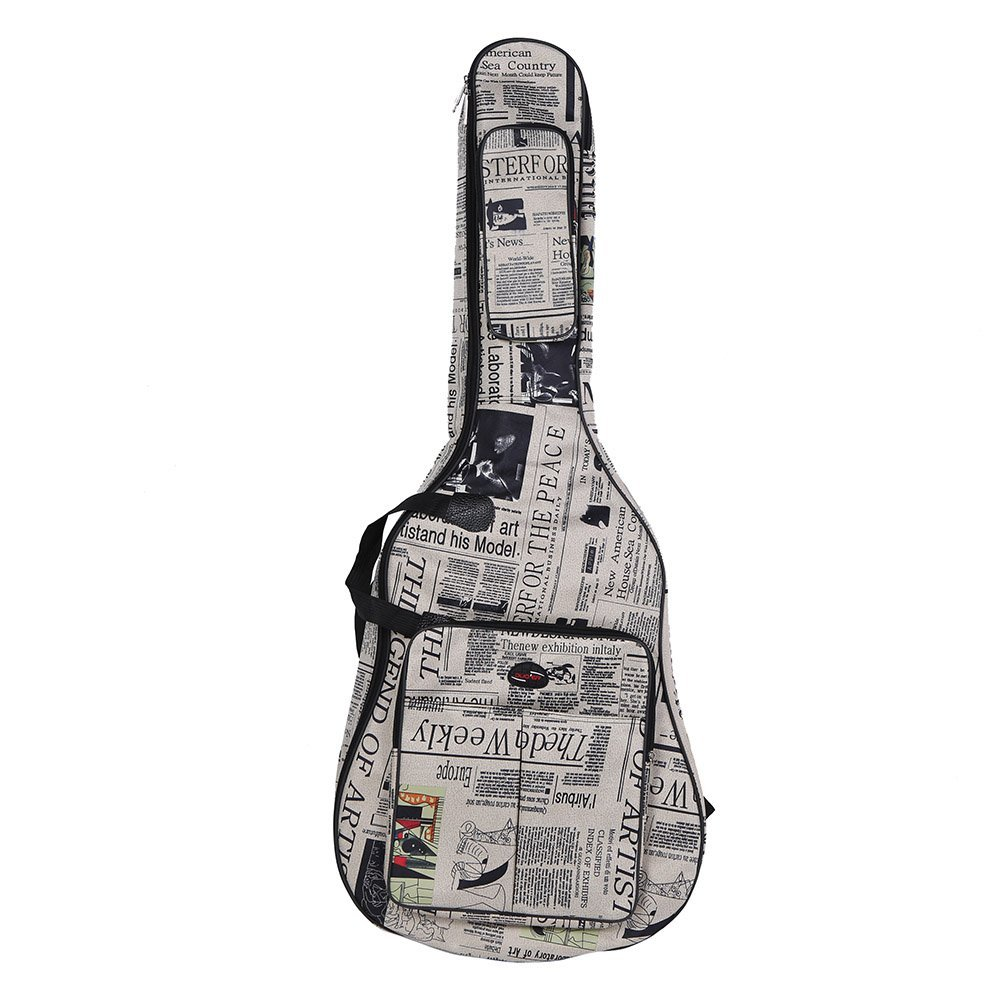 ammoon 600D Water-resistant Oxford Cloth Camouflage Blue Double Stitched Padded Straps Gig Bag Guitar Carrying Case for 41Inchs Acoustic Classic Folk Guitar (41Inchs, Newspaper Style) NRI-006