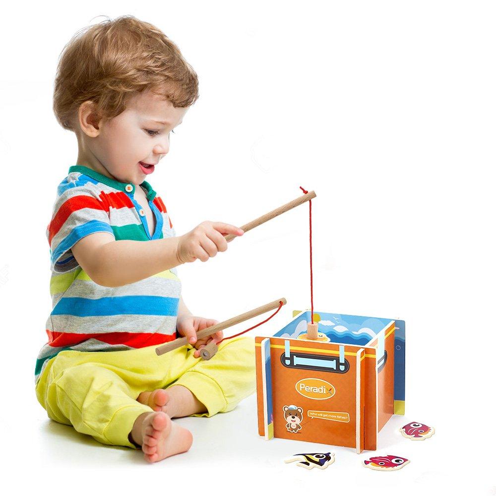Peradix Angelspiel Holzpuzzles mit zwei Angeln Holzspielzeug Geschicklichkeit ab 6 Jahren 18 teilig