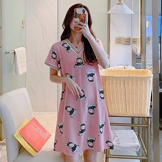 Camisón de algodón Largo versión Coreana Pura de la Linda ...
