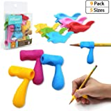 Pencil Grips,Firesara Silicone Ergonomic Writing Aid Dolphin and Handle Style Pencils Training Grip Holder for Kids Students Kindergarten Adults Right Handed the Aged Disabled Hands (9pcs)