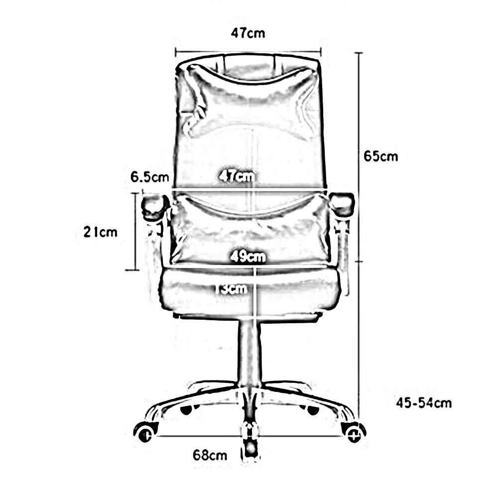 Bseack läder dator skrivbordsstol, liggande kontorsstol justerbar höjd ergonomisk personalstol med nackstöd och ländrygg stöd (färg: Vinröd) kaffe