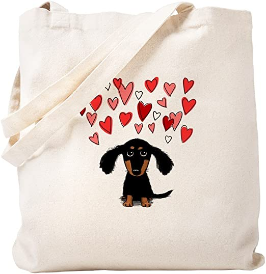 Canvas Shopping Tote Bag Love Hearts English Coonhound Dog English Coonhound Beach Bags for Women