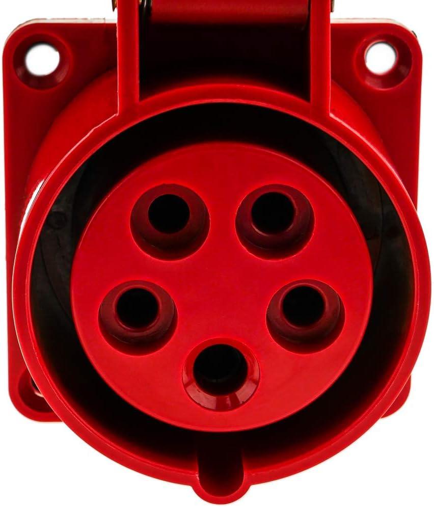BeMatik Industrie Steckdose CETAC weiblich 3P+T+N 16A 480V IP44 IEC-60309 f/ür einbetten