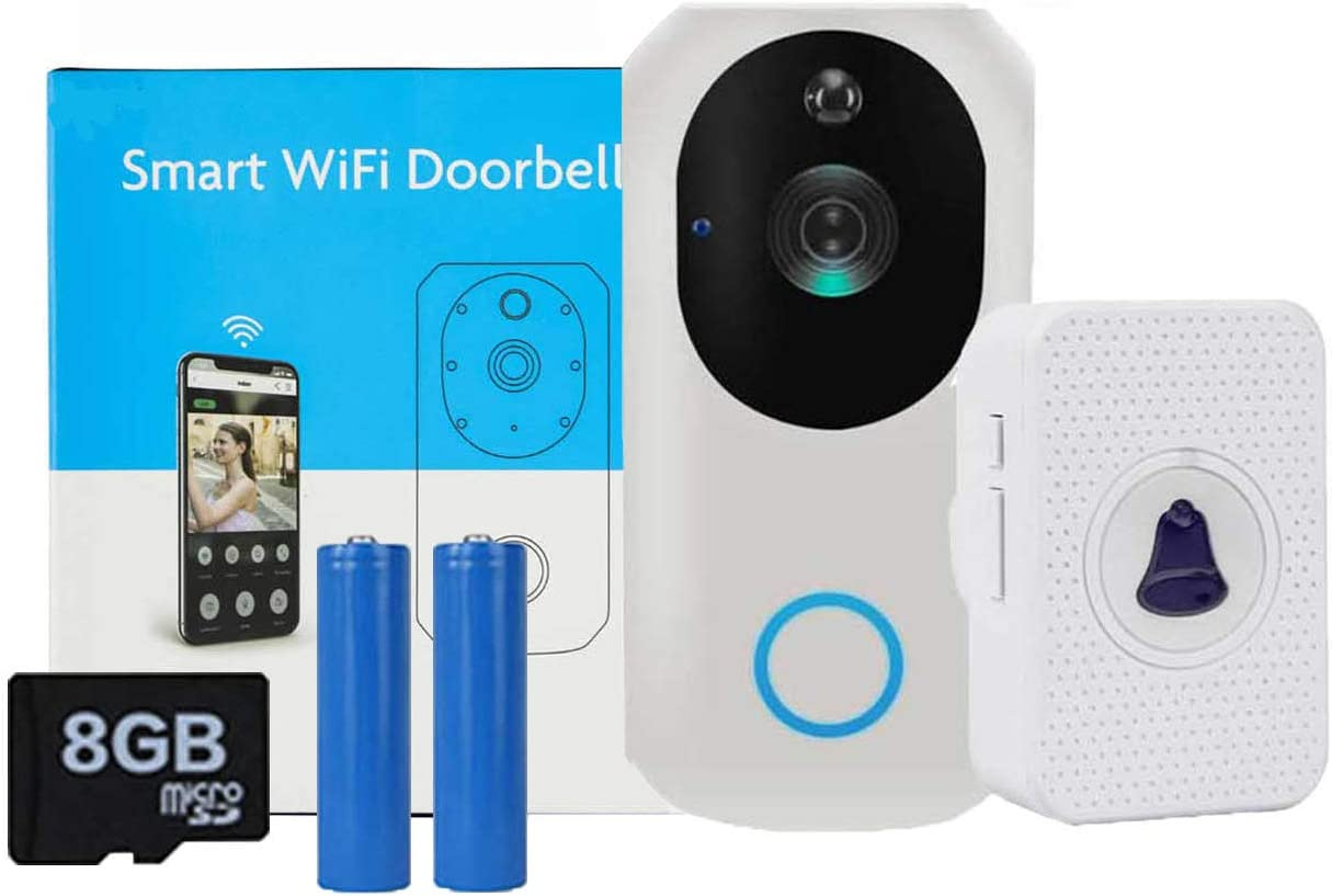 Video Doorbell,Wireless Smart Doorbell, Door Camera with PIR Motion Detection, Night Vision Two-Way Talk and Real-time Video 1080P HD Home Security Camera App Control for iOS Android with Batteries
