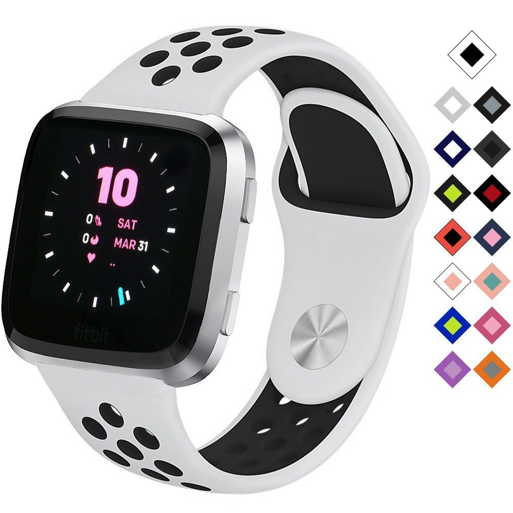 Silicone Sport Band for Fitbit Versa Smart Watch Replacement Bracelet Watch Band Soft Sport Strap for Fitbit Versa (White Black) by Flyeagle168 (Image #1)