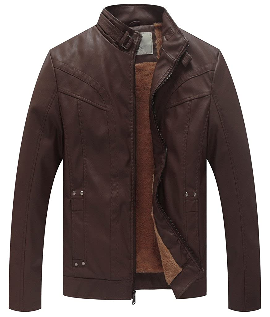 WenVen Men's Stand Collar Faux Leather Moto Jacket with Removable Hood
