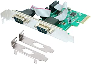 PCIE 2 Port Serial Expansion Card PCI Express to Industrial DB9 RS232 COM Port Adapter WCH382 Chip for Desktop PC Windows 10 with Low Bracket