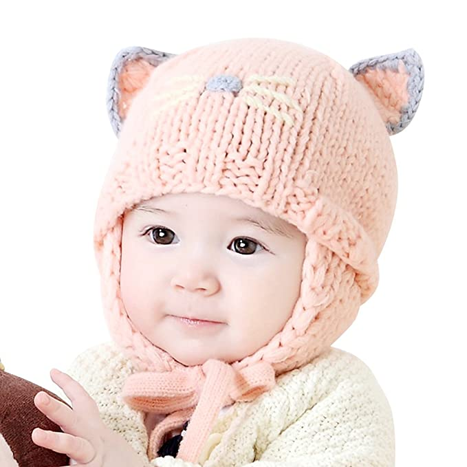 e92dc9f8f24 IMLECK Cute Baby Kids Girls Boys Warm Winter Stretchy Cat Hat Beanie Pink