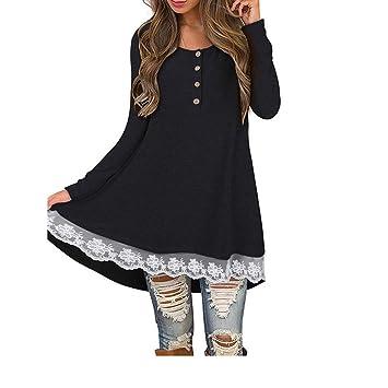 Mujer blusa vestido otoño,Sonnena ❤ Vestido de blusa de manga larga casual mujer