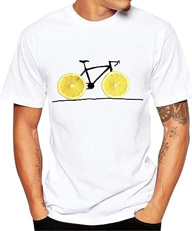 OHQ Camiseta Manga Corta Estampada para Hombre Blanca Camisa Elegante Original Pareja Deporte Blusa: Amazon.es: Ropa y accesorios