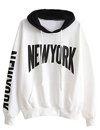 66a96a69d0cb8 Sweatshirt Ado Fille, Sweat Capuche Femme Imprimé Lettre New York Automne  Pull Oversize à La Mode Sweat-Shirt À Capuche Chic Manteau Pas Cher Sweat  Shirt ...