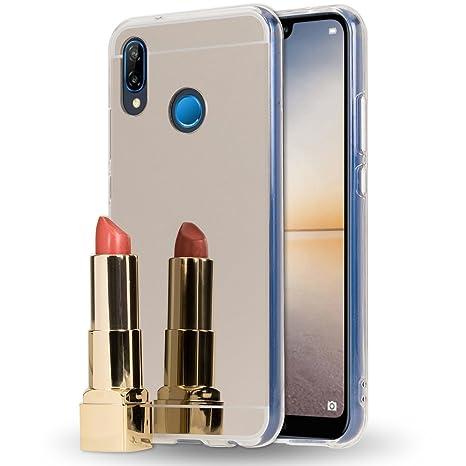 NALIA Funda Espejo Compatible con Huawei P20 Lite, Protectora Movil Carcasa Silicona Ultra-Fina Gel Bumper Mirror Case, Goma Cubierta Telefono ...