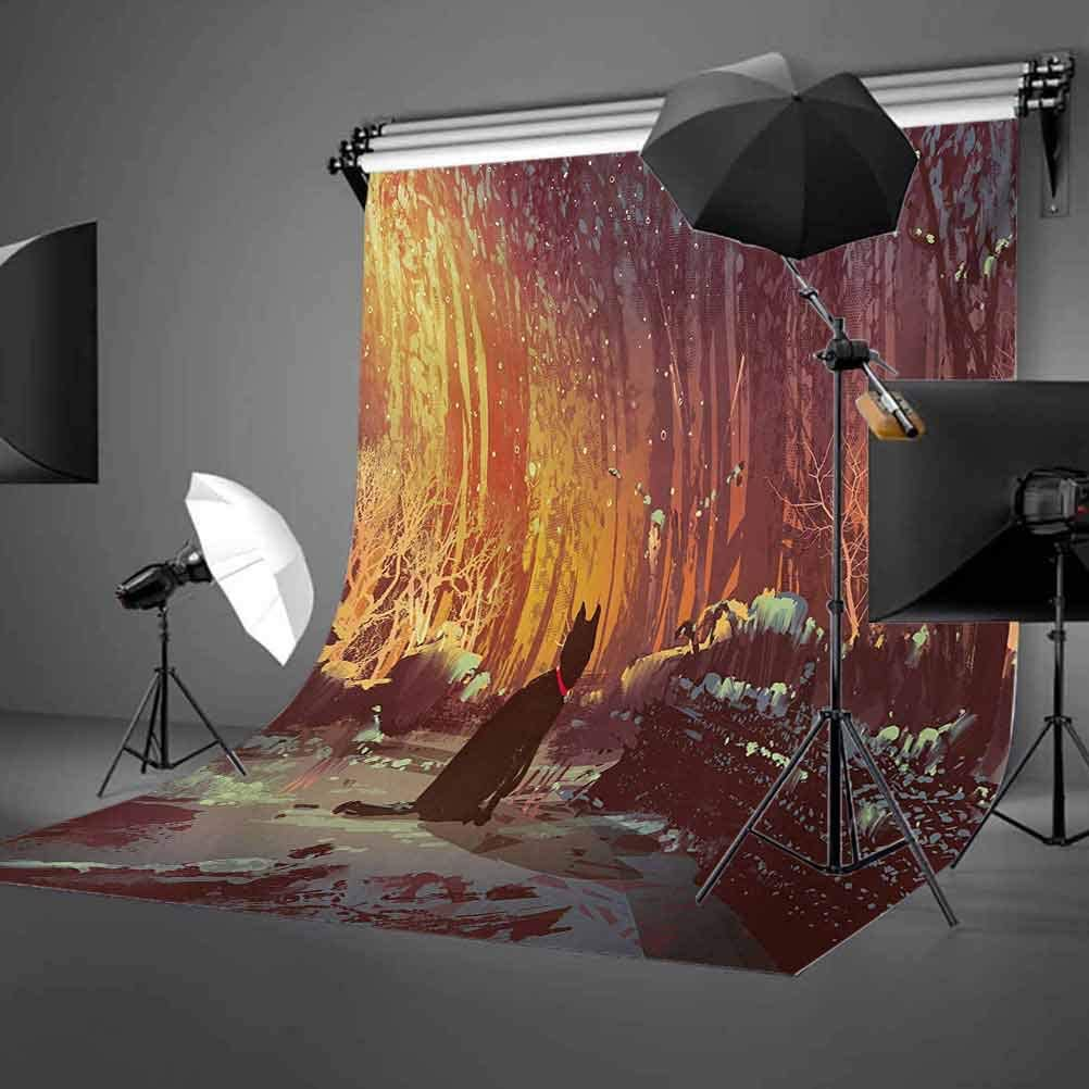 Fantasy 6.5x10 FT Photography Backdrop Surreal Lost Black Cat Deep Dark in Forest with Mystic Picture Artwork Print Background for Baby Shower Bridal Wedding Studio Photography Pictures Orange Brown