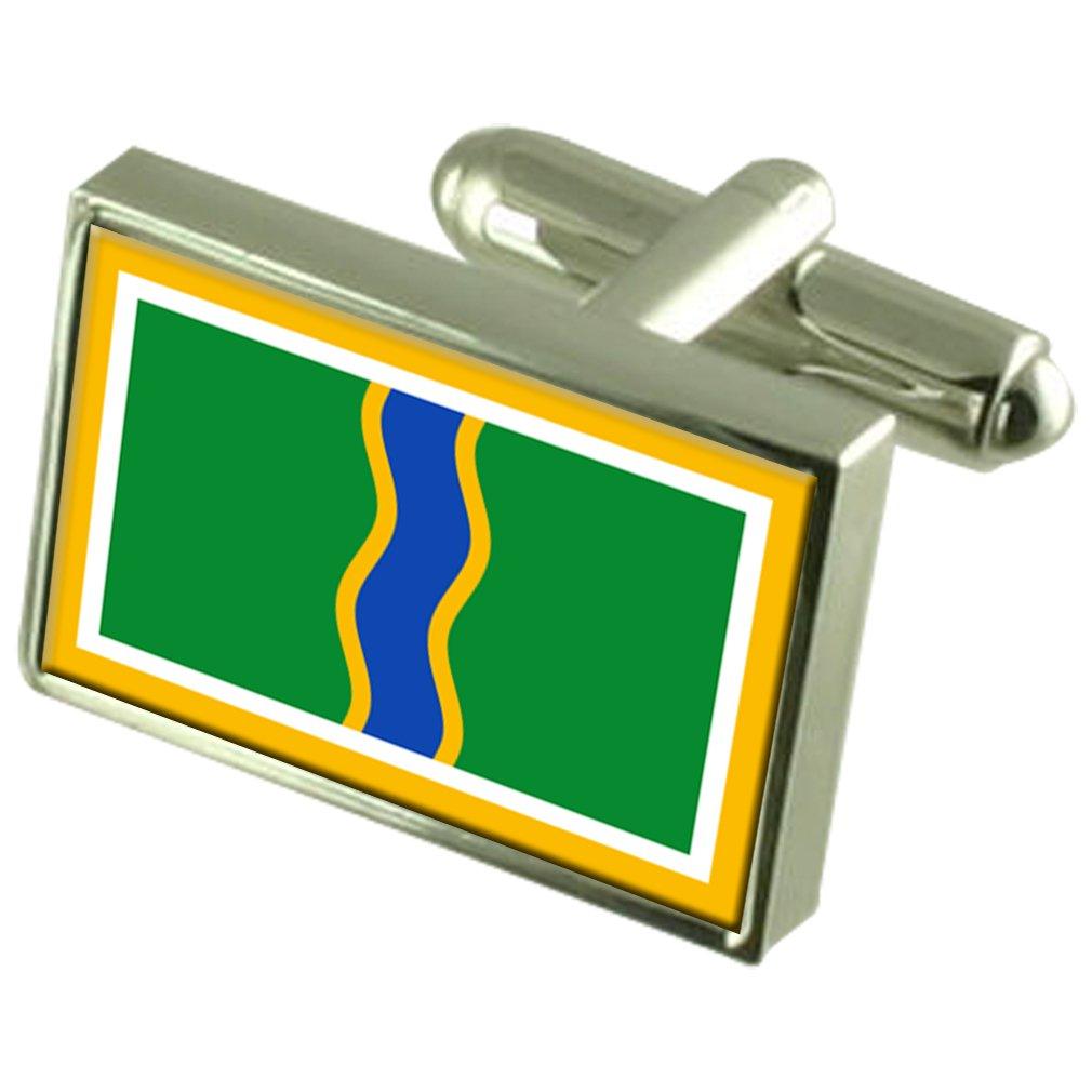 Andorra la Vella City Andorra Sterling Silver Flag Cufflinks Engraved Box
